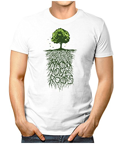 PRILANO Herren Fun T-Shirt - KNOW-YOUR-ROOTS - Small bis 5XL - NEU Weiß