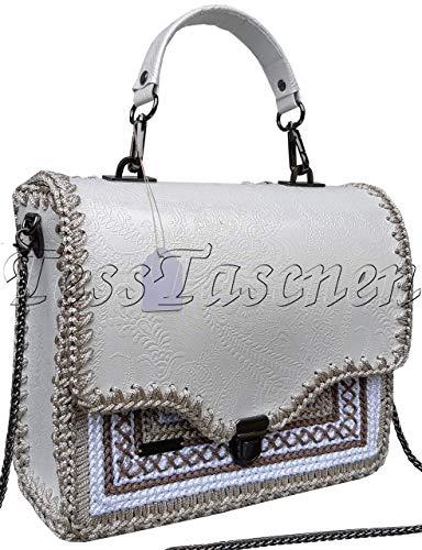 Damen Schultertasche Weiße klassische Top Griff Tasche mit Stickerei und Ornament Tasche mit geprägtem Leder Frauen Aktentasche
