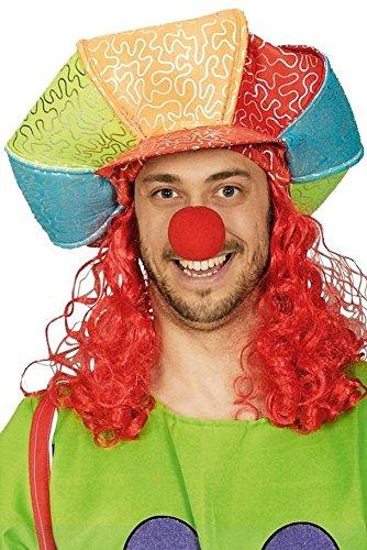 KARNEVALS-GIGANT Bunte Mütze Clownsmütze mit Haaren für Clown -