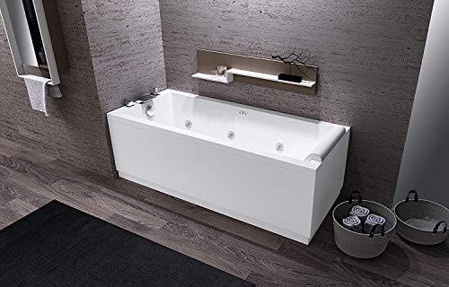 Vasca calos 2 misura 170 x 70 idromassaggio whirpool con 2 pannelli laterale e frontale compresa di rubinetto e poggiatesta