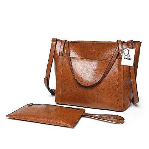 Tote Bags Messenger in pelle morbida da lavoro vintage in morbida pelle da lavoro di Yoome - Nero Marrone