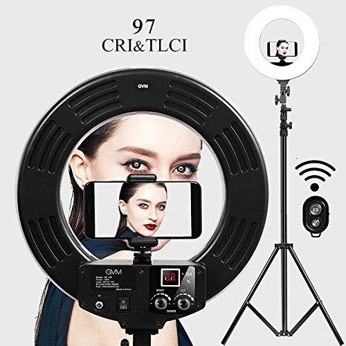 GVM Selfie Ringleuchte RingLicht Set,18 Zoll Bicolor 3200-5600K, LED Ringlicht Lampenstativ,Blitzlicht Lampe für YouTube,Photography Studio,Makeup,...