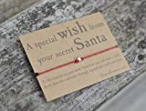 Secret Santa Wish Bracelet, Friendship Band, Star Charm, Christmas Gift, Keepsake Card.