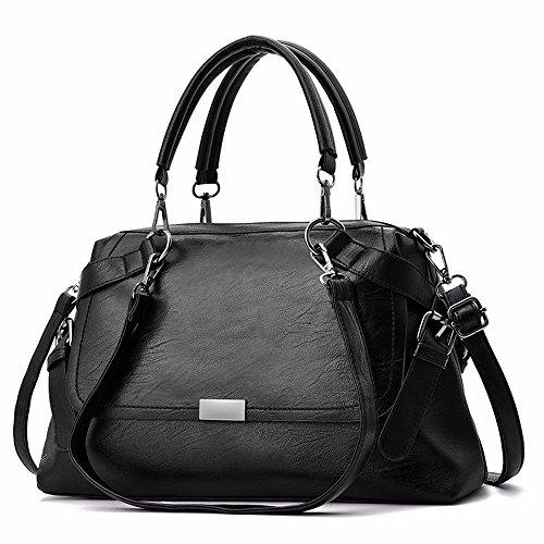 GQFGYYL umhängetasche, Frauen - Tasche, Mode, Weiches Leder Handtaschen, Schulranzen,schwarz