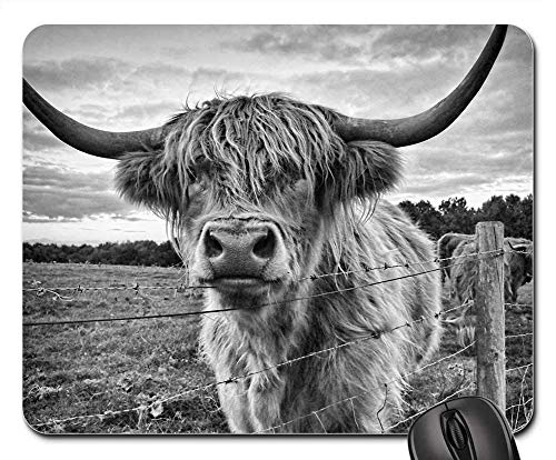 ubber Mouse Pad(9.45x7.8x0.12 Inches) Highland Cow Cow Animal Highland Cattle Farm ()