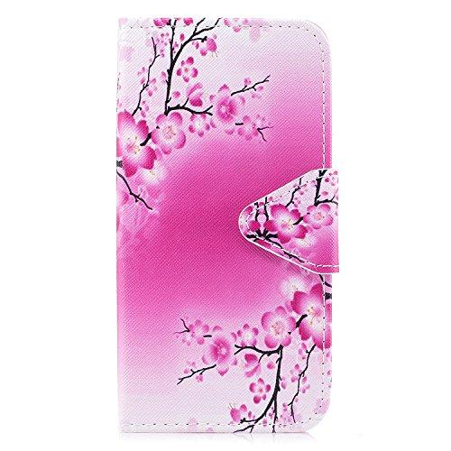 iPhone X hülle, Voguecase Kunstleder Tasche PU Schutzhülle Tasche Leder Brieftasche Hülle Case Cover für Apple iPhone X(Violett Weiß Löwenzahn) + Gratis Universal Eingabestift Pflaume 18
