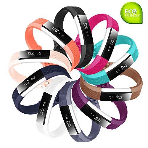 Cinturino di ricambio per Smartwatch Fit-power, Fitbit Alta e Alta HR, cinturino sportivo regolabile Fitbit Alta e Alta HR., Pack of 10, L