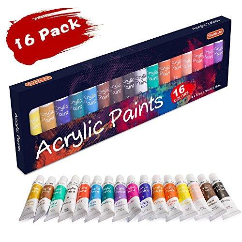 Acrylfarbe Set, Shuttle Art 16 x12ml (0.4 oz) Tuben Künstlerqualität ungiftig reiche Pigmente geeignet für Kinder Erwachsene Profession Malen auf Leinwand Holz Lehm Textil Keramik Handwerk