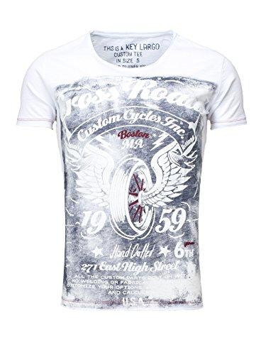 Key Largo Herren Sommershirt T-Shirt T DRIVE CLUB round Vintage Look Rundhalsausschnitt Slim Fit Schnitt Bikermotiv Printshirt Weiß
