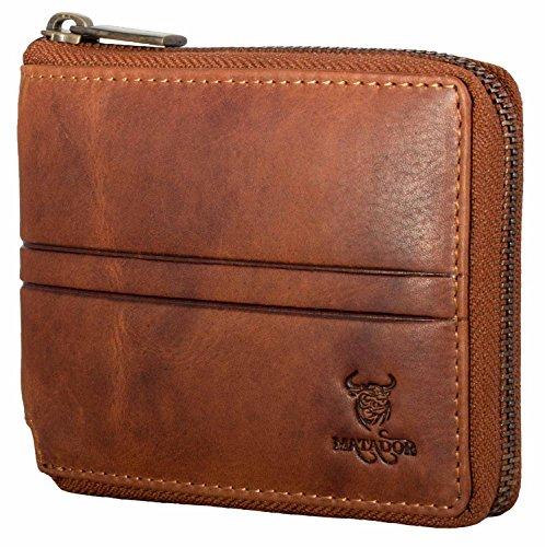 MATADOR Herren Damen Leder Geldbörse Brieftasche RFID Schutz Antik Braun mit Metall Reißverschluss...
