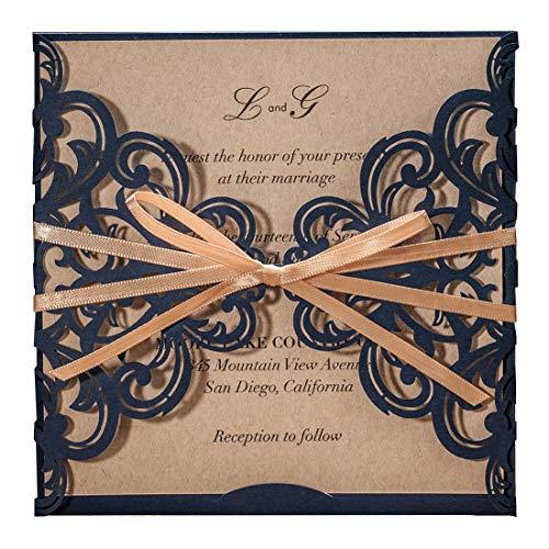 Wishmade Blau Einladungskarten Hochzeit Karten 20 Stücke mit Bowknot Lasercut Schleife Spitze Karten für Brautdusche Verlobung Gratis Umschläge (Dusche Elegante Bridal Einladungen)
