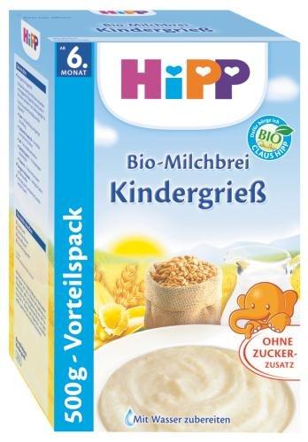Hipp latte organico porridge di semola bambini, 6-pack (6 x 500g)