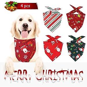 Bandanas de Chien de Noël, Lot de 4 Styles Foulard pour Chien Lavable - Réversibles - Réglables - Écharpes Bavoirs Triangulaires, pour Accessoires de Costume d'Animal de Compagnie