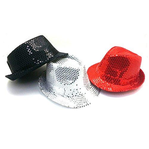 3x Pailletten Hut Rot, Silber, Schwarz Karneval Silvester Party