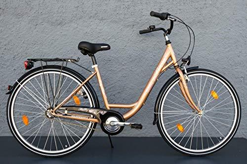 "28\"" Zoll Damen Fahrrad Biria Mifa City Bike Shimano 3 Gang Rücktritt Gold"