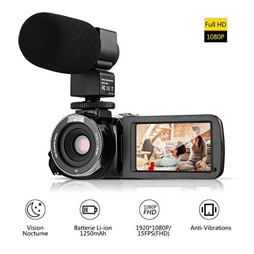 Videocámara Digital Full HD 1080P ICOCO Vídeo de Cámara Profesional Portátil con Microfono Pantalla LCD 3,0 Pulgadas Zoom Digital de 16X (24MP con microfono)