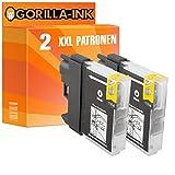 Gorilla-Ink® 2x Tinten-Patrone XXL kompatibel für Brother LC980 DCP-145C DCP-160 Series DCP-163 C DCP-165 C DCP-167 C Schwarz
