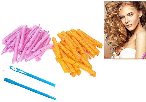 Lockenwickler Roller, 40 Stück Haar-Lockenwickler lange Twist Spiral Circle Hair Rollers Styling Tool … (50 CM)