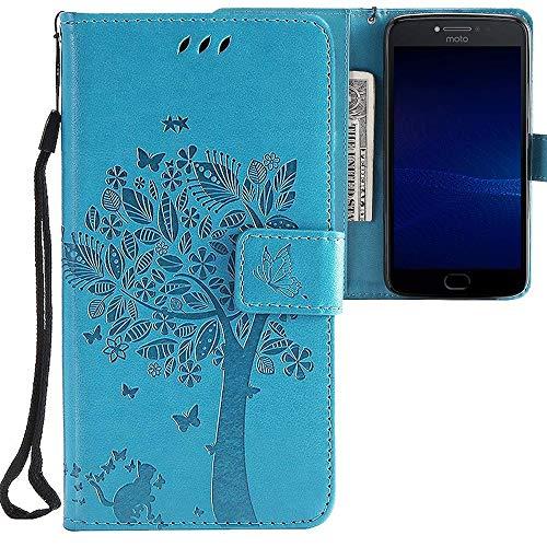 CLM-Tech kompatibel mit Motorola Moto E4 Plus Hülle, Tasche aus Kunstleder, Baum Katze Schmetterlinge blau, PU Leder-Tasche für Moto E4 Plus Lederhülle