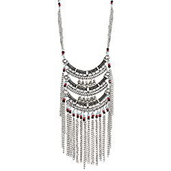 muccasacra Alloy, silver multicolour Beaded Set Anarkali Styled Necklace
