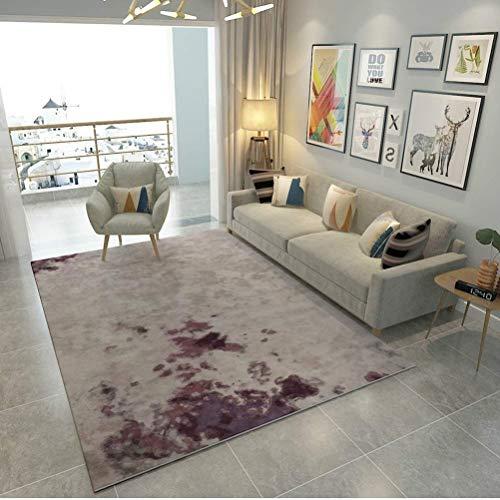 YXNN Moderner Bereich-Teppich - Kunstdruck Und Färben Wohnzimmer-Teppich Schlafzimmer-Dekoration Bodenmatte Couchtisch Decke Rechteckige Kinderspielmatte (Farbe : Lila, größe : 200x300cm) - Schwarz Moderner Couchtisch