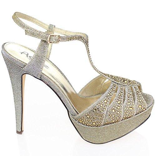 Aarz Femmes Mesdames Soirée de mariage haut Party Platform talon Diamante Bridal Prom Sandal Chaussures Taille (Noir, Argent, Étain) Étain