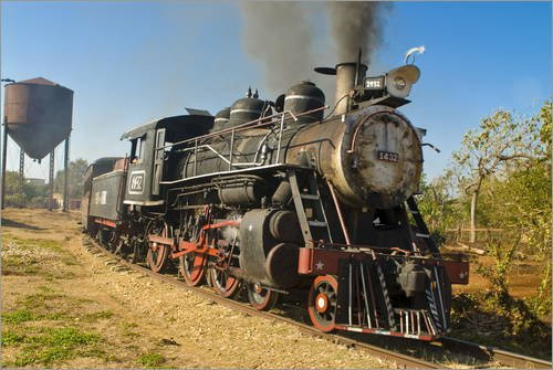 Posterlounge Alu Dibond 180 x 120 cm: Old Steam Locomotive, Trinidad, Cuba, West Indies, Caribbean, Central America von Michael Runkel/Robert Harding