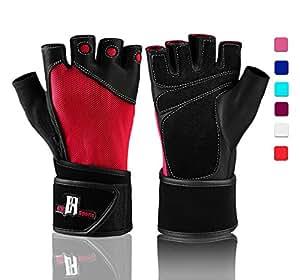 Gants d'haltérophilie avec support poignet - Gants d'entraînement avec support rembourré pour poignet pour soulever des poids, l'entraînement croisé, la dynamophilie ; gants de musculation, gants de levage de qualité, Red