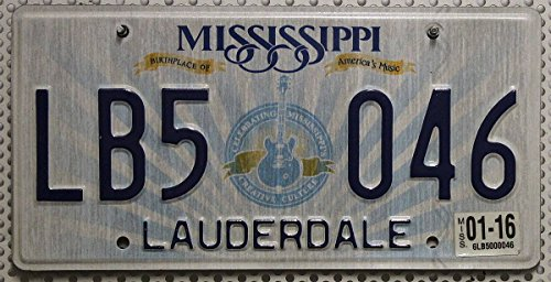 USA Nummernschild MISSISSIPPI ~ US Auto Kennzeichen Motiv Gitarre ~ Birthplace of America's Music * BLECHSCHILD * Celebrating Mississippi's Creative Culture