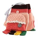 USB-Handschuhe, USB Beheizt Half & Full Finger Handschuhe Strickhandschuhe Winter Warm Hand Handschuhe Wärmer Fäustlinge für Damen und Herren rosa/orange
