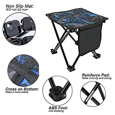 Xndryan Small Fishing Chair, Portable Stool Foldable Camping Footstool Lightweight Fishing Stool with Stable Flat Feet and Carry Bag, Suitable for Outdoor Activities Picnic Hiking Garden BBQ by Xndryan