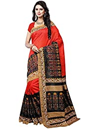 Winza Designer Women's Cotton Silk Woven Bhagalpuri Saree With Blouse - RR-14A1.14 - 1_Orange And Black_ Free...