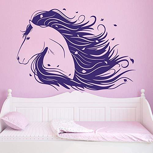 BailongXiao Lila Pferd wandtattoo Kunst Aufkleber Tier mädchen Schlafzimmer Dekoration Vinyl Aufkleber Wand Wohnzimmer wandaufkleber Kindergarten 58x40 cm