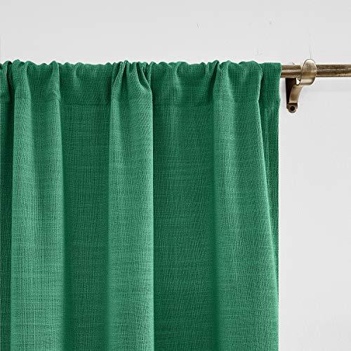 ChadMade Pfau Leinen mit Blackout Lining Vorhang 140 x 245 cm (B x L), Blickdicht Vorhänge Rod Pocket Gardinen für Glas-Schiebetüren, Terrassentüren, Wohnzimmertür (1 Panel)
