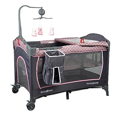 Wei-d Multifunktionale Portable faltbare Krippe Kinder mit Shaker mit Rädern , Pink