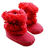 EFINNY Baby Winter Warm Booties Little Girls Boys Cotton Snow Boots Furry Soft Crib Shoes Infant First Walkers for 0-18 Months