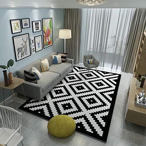 DAMENGXIANG Geometría Alfombra Blanca Negro Salón Mesa De Café Habitación Dormitorio Mat Felpudo Antideslizante Decoracion Suave Almohadilla Pie 70×180Cm.