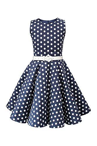 BlackButterfly Kinder 'Audrey' Vintage Polka-Dots Kleid im 50er-J-Stil (Nachtblau, 9-10 J / 134-140) (Mädchen Swing-kleid)