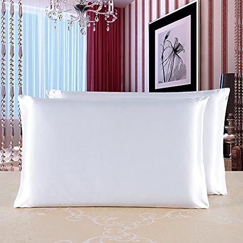 HYSENM Kissenbezug Seide Uni Edel Hautpflege Haarpflege Atmungsaktiv Weich Glatt mit Reißverschluss Kissenhülle Rechteckig Silk Pillowcase Kopfkissenbezug, Weiß 50x70cm