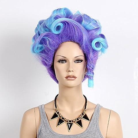 Stfantasy des Perruques pour femme Medium ondulés résistant à la chaleur Cheveux synthétiques 35,6cm 208G Fluffy Perruque Peluca gratuit Cheveux Net + Clips, Bleu Violet