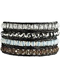 Rafaela Donata Damen-Armband Leather Collection Leder schwarz Glaskristall mehrfarbig  60831020