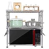 Küchenwagen HWF 2-Tier Mikrowelle Regal Gewürzregale Arbeitsplatte Küche Organizer Lagerung Multifunktions Arbeitsplatte Ständer