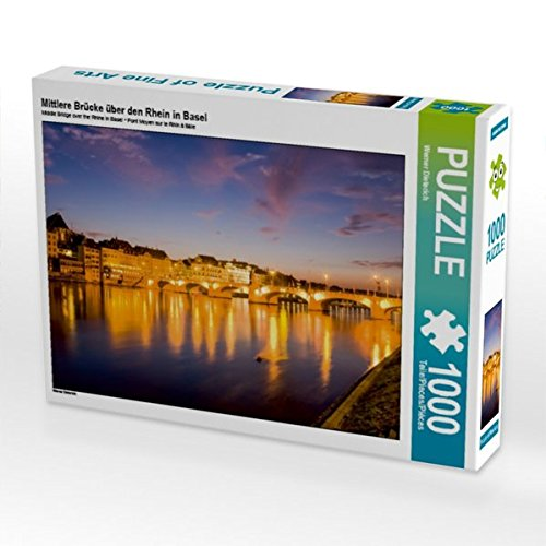 Mittlere Brücke über den Rhein in Basel 1000 Teile Puzzle quer