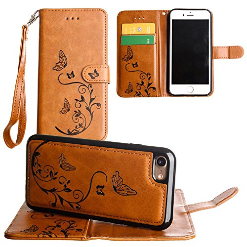 CellularOutfitter Apple iPhone 7 Leather Wallet Case - Embossed Butterfly Design w/ Matching Detachable Case and Wristlet - Taupe Brown