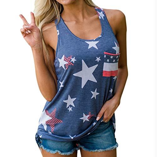 Junjie Ärmellose Damen Weste Patriotic Stripes Star American Flag Print Tanktop Blau frühling stillen Hochzeit lustig Short Shirt Tops Umstandsrock -