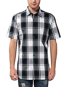 KAIUSI - Camisa para Hombre de Algodon Puro a Cuadros