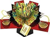 """Second Nature - Tarjeta de felicitación desplegable para cumpleaños, diseño en 3D con texto en inglés """"Happy 18 birthday"""""""