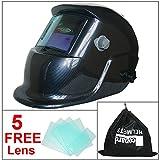 Leopard LEO-WH86 Solarbetriebene + Automatische Verdunkelung + Schleiffunktion + 9-13 Schatten Schweißhelm Maske mit 5 Kostenlosen Ersatzlinsen | #06 Kohlenstoff
