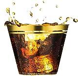 Les gobelets parfaits pour votre occasion spéciale.    Ce lot de 100 gobelets en plastique à double rayure dorée est parfait pour vos occasions spéciales : anniversaire, anniversaire, mariage, fête prénatale, brunchs, fêtes de vacances, fête d'ent...