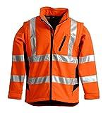 LeiKaTex Softshell-Warnschutzjacke für Herren und Damen (S, Orange/Marine) winddicht, wasserabweisend, atmungsaktiv, abnehmbare Ärmel, Fleece Innenstoff EN 20471 Arbeitsjacke